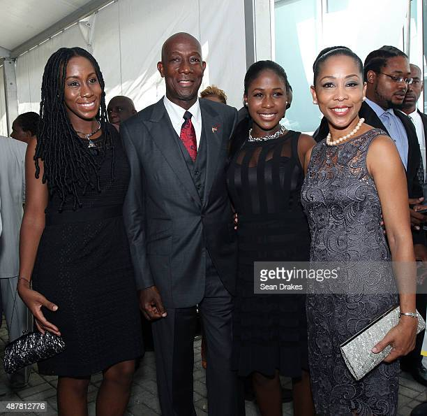 Keith Christopher Rowley Prime Minister of Trinidad Tobago poses with his wife Sharon Rowley and their daughters Tonya Rowley and Sonel Rowley during...
