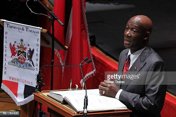 Keith Christopher Rowley Prime Minister of Trinidad Tobago speaks during the swearingin ceremony for Ministers of Government at Queen's Hall on...