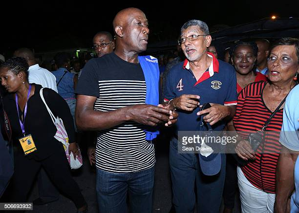 Keith Christopher Rowley , Prime Minister of Trinidad & Tobago, talks with David Abdullah, leader of the Movement for Social Justice, at the...