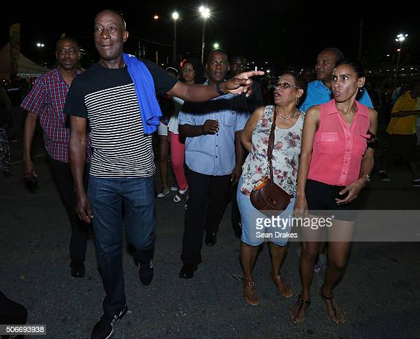 Keith Christopher Rowley , Prime Minister of Trinidad & Tobago, tours the 'Drag' at the semi-finals of Panorama in the Queen's Park Savannah during...