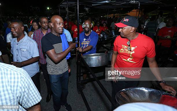 Keith Christopher Rowley , Prime Minister of Trinidad & Tobago, visits steel pan musicians at the semi-finals of Panorama in the Queen's Park...