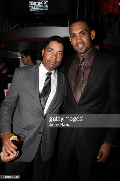 Keith Clinkscales and Executive Producer and NBA Player Grant Hill attend the premiere of Starting at the Finish Line The Coach Buehler Story during...
