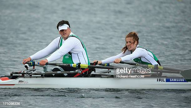 Keith Connolly and Katie O'Brien of Ireland compeate in the Adaptive TA Mixed Double Sculls final during day two of the 2013 Samsung World Rowing Cup...