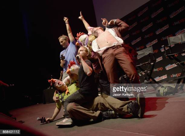 Keith Crofford Seth Green Matt Senreich Breckin Meyer Clare Grant Macaulay Culkin Tom Root and Tom Sheppard pose onstage at the Robot Chicken Panel...