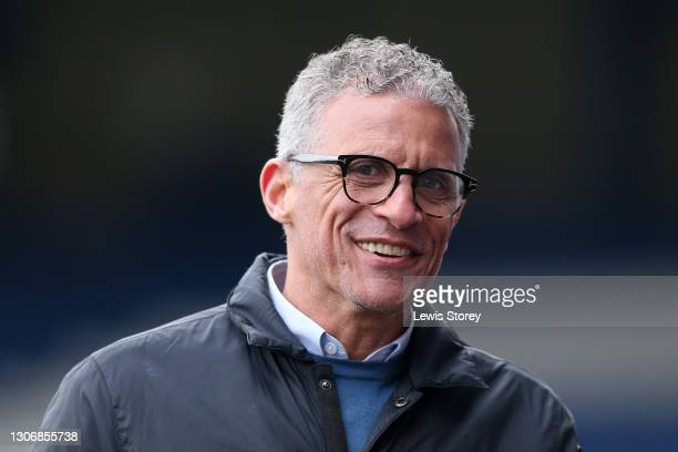 Keith Curle, Manager of Oldham Athletic reacts prior to the Sky Bet League Two match between Oldham Athletic and Cambridge United at Boundary Park on...