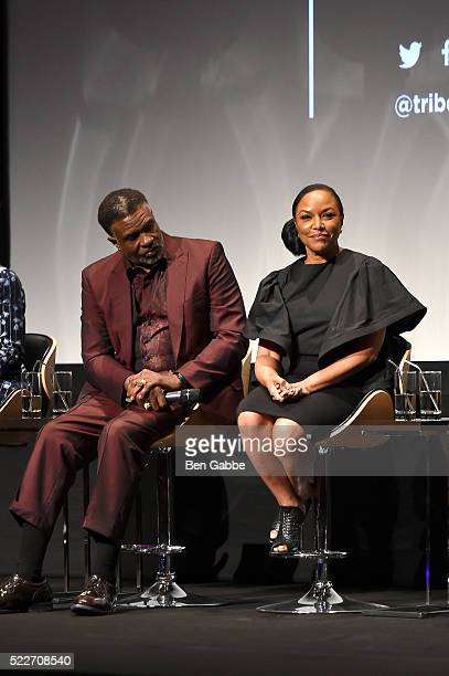Keith David and Lynn Whitfield attend the Tribeca Tune In Greenleaf at BMCC John Zuccotti Theater on April 20 2016 in New York City