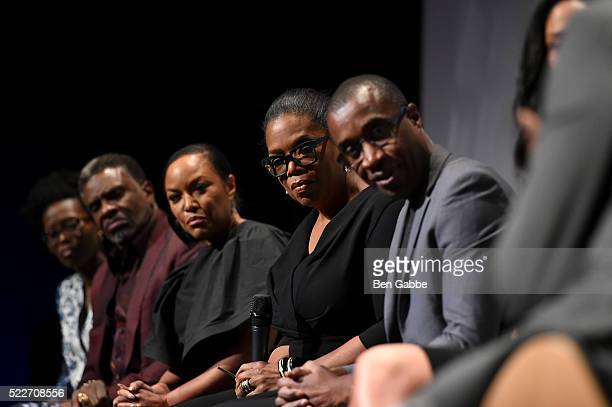 Keith David Lynn Whitfield Oprah Winfrey and Clement Virgo attend the Tribeca Tune In Greenleaf at BMCC John Zuccotti Theater on April 20 2016 in New...
