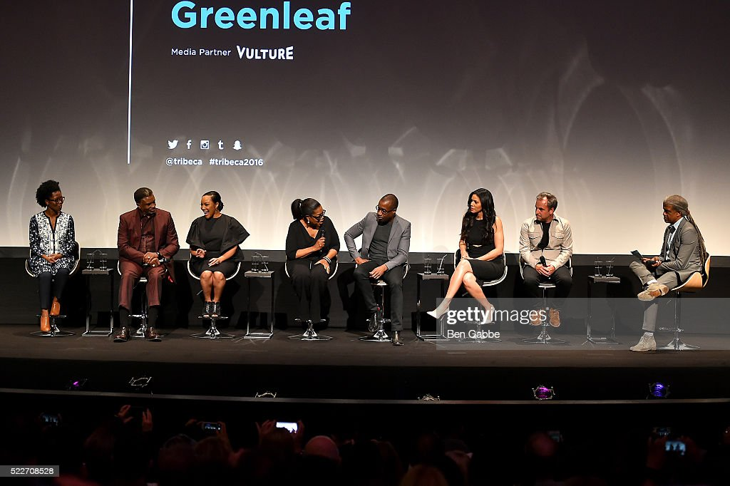 Keith David, Lynn Whitfield, Oprah Winfrey, Clement Virgo Merle Dandridge and Craig Wright speak on stage at the Tribeca Tune In: Greenleaf at BMCC John Zuccotti Theater on April 20, 2016 in New York City.