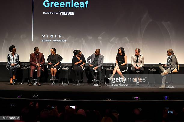 Keith David Lynn Whitfield Oprah Winfrey Clement Virgo Merle Dandridge and Craig Wright speak on stage at the Tribeca Tune In Greenleaf at BMCC John...