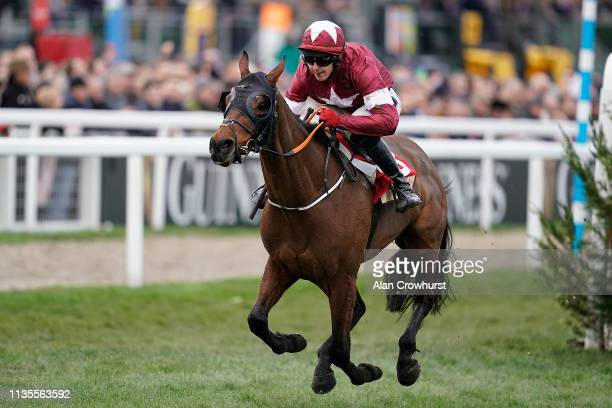 Keith Donoghue riding Tiger Roll clear the last to win The Glenfarclas Chase at Cheltenham Racecourse on March 13 2019 in Cheltenham England