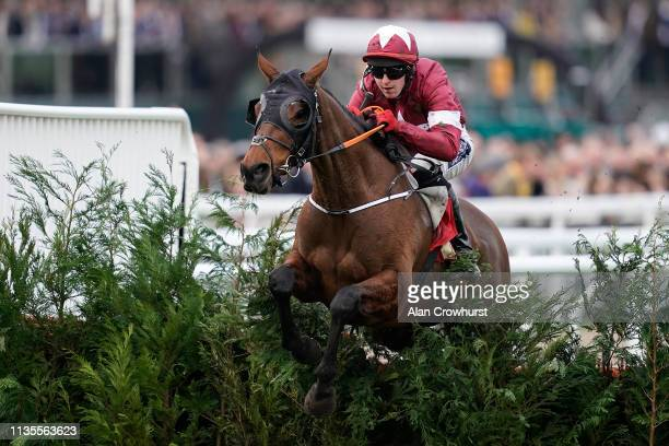 Keith Donoghue riding Tiger Roll clear the last to win The Glenfarclas Chase at Cheltenham Racecourse on March 13, 2019 in Cheltenham, England.
