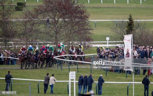Keith Donoghue riding Tiger Roll on their way to winning The Glenfarclas Steeple Chase at Cheltenham racecourse on Ladies Day on March 14 2018 in...