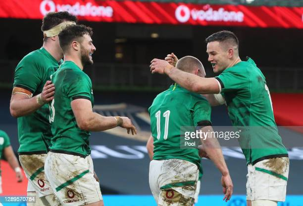 Keith Earls of Ireland celebrates after scoring their first try with Jonathan Sexton during the Autumn Nations Cup match between Ireland and Scotland...