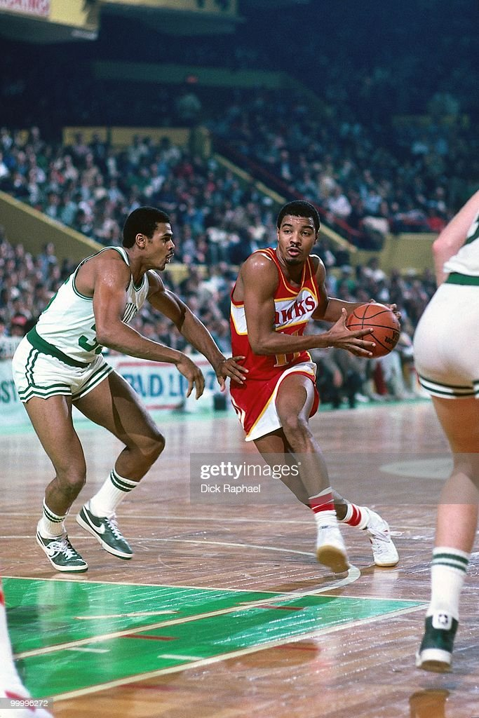 Keith Edmonson #11 of the Atlanta Hawks drives to the basket against the Boston Celtics during a game played in 1983 at the Boston Garden in Boston, Massachusetts.