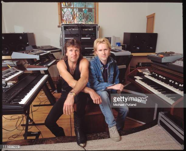 Keith Emerson and Howard Jones in studio with keyboards, May 1989.