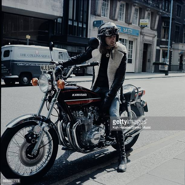 Keith Emerson ELP sitting astride his cherished KAWASAKI bike in London, London, 1974.