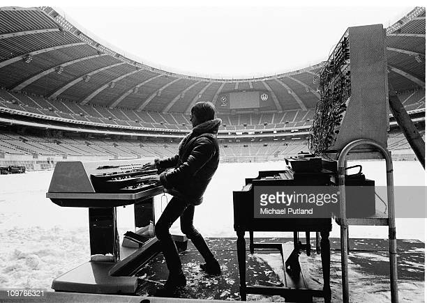 Keith Emerson of Emerson, Lake and Palmer during rehearsals for the band's 'Works' tour, at the Olympic Stadium, Montreal, Canada, February 1977.