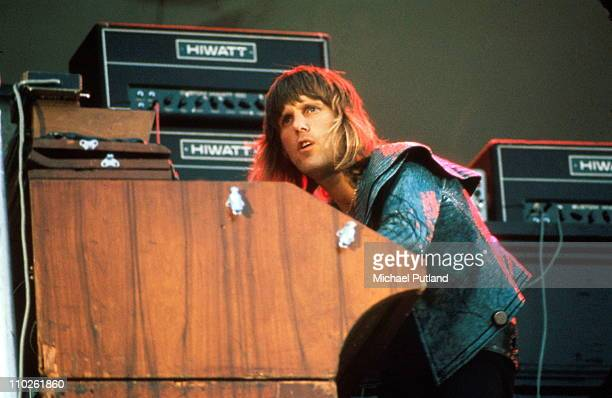 Keith Emerson of Emerson Lake and Palmer performs on stage at the Oval, London, 30th September 1972.