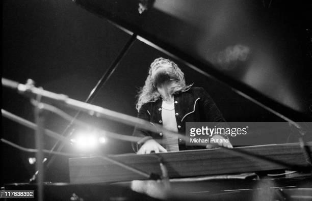 Keith Emerson of Emerson Lake and Palmer performs on stage at the Guildhall, Portsmouth, UK, 30th March 1971.