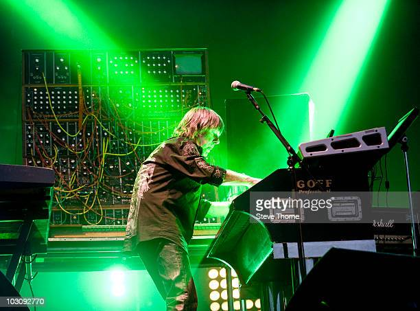 Keith Emerson of Emerson Lake and Palmer performs on stage during the second day of High Voltage Festival at Victoria Park on July 25, 2010 in...