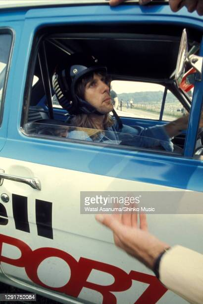 Keith Emerson of Emerson, Lake & Palmer in a ShellSport Ford Escort Mexico racing car at Radio Luxembourg Day at Brands Hatch Circuit in West...