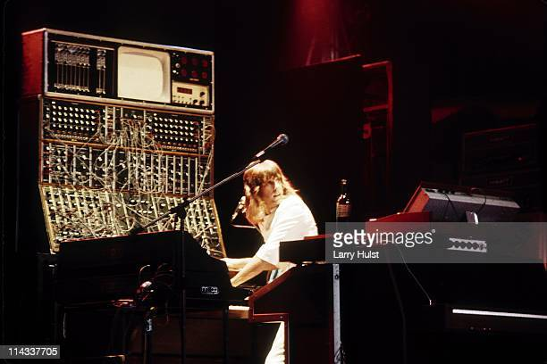Keith Emerson performs with 'ELP' aka Emerson, Lake and Palmer at Civic Center in San Francisco, California on February 17, 1974.