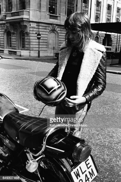 Keith Emerson stands by his favorite Kawasaki bike, August 1974.