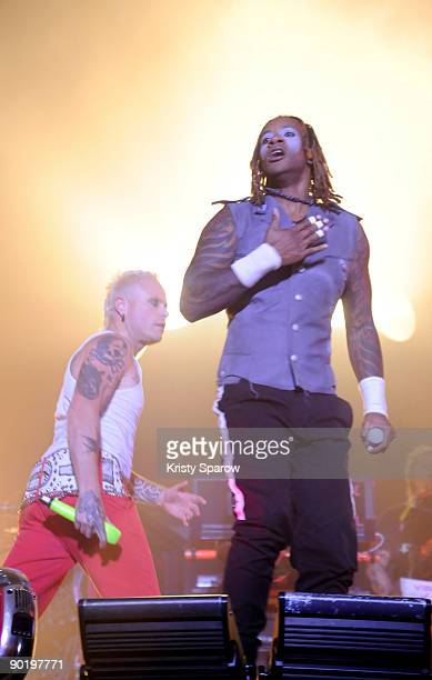 Keith Flint and Maxim of The Prodigy performing on stage during the Rock en Seine music festival on August 30 2009 in Paris France