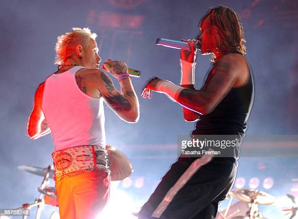 Keith Flint and Maxim Reality of The Prodigy headline the Otherstage on the last day of Glastonbury Festival at Worthy Farm on June 28 2009 in...