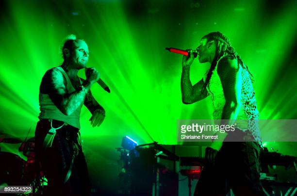 Keith Flint and Maxim Reality of The Prodigy perform live on stage at O2 Apollo Manchester on December 14 2017 in Manchester England