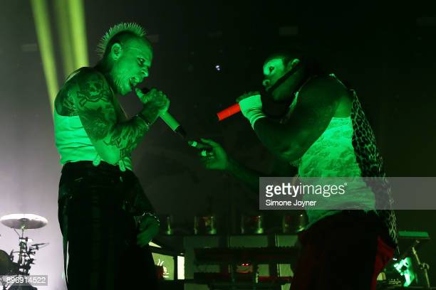Keith Flint and Maxim Reality of The Prodigy perform live on stage at O2 Academy Brixton on December 21 2017 in London England