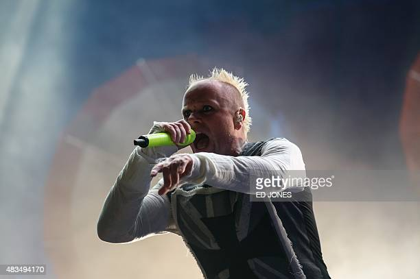 Keith Flint of The Prodigy performs at the 10th annual Incheon Pentaport Rock Festival in Incheon west of Seoul on Ausust 9 2015 The Incheon...