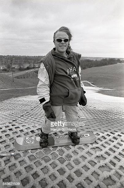 Keith Flint of The Prodigy snowboarding at a dry ski slope United Kingdom 1993