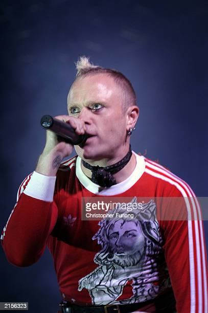 Keith Flint performs with his band Flint at The T In The Park Festival on July 12 2003 at Balado near Kinross in Scotland