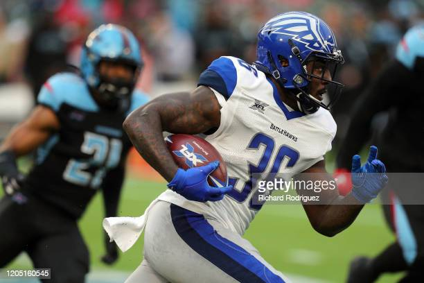 Keith Ford of the St. Louis Battlehawks runs the ball against the Dallas Renegades in an XFL football game on February 09, 2020 in Arlington, Texas.