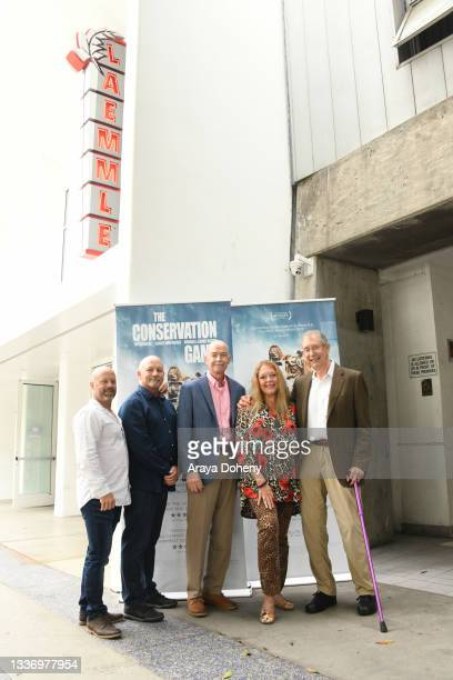 """Keith Gad, Russ Muntz, Jeff Kremer, Carole Baskin and Howard Baskin attend the Los Angeles theatrical premiere of """"The Conservation Game"""" on August..."""