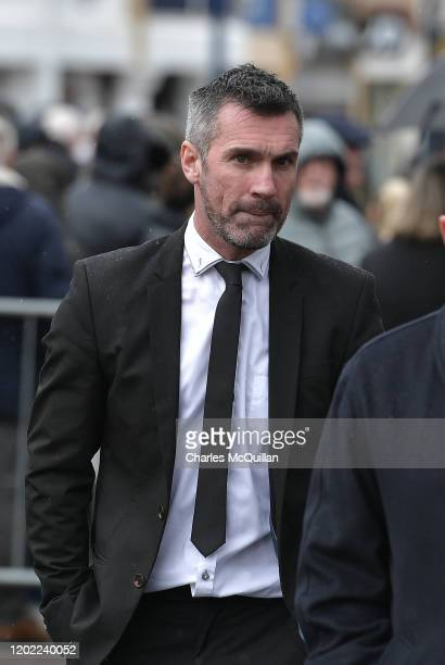 Keith Gillespie arrives as the funeral of former Manchester United and Northern Ireland footballer Harry Gregg takes place on February 21 2020 in...