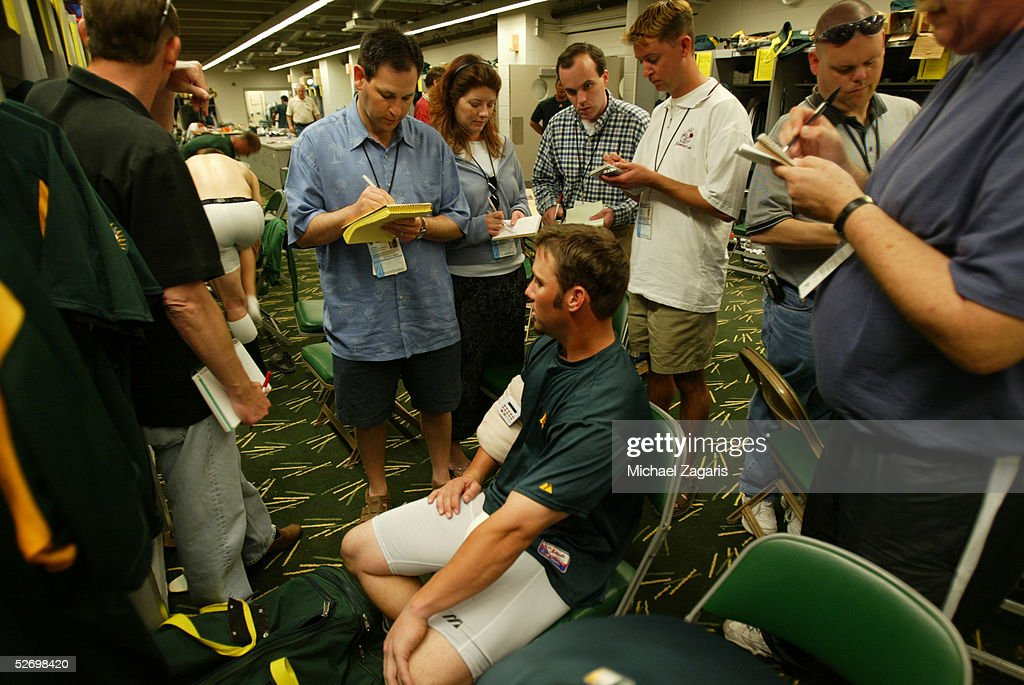 Keith Ginter of the Oakland Athletics with the press before the MLB game against the Chicago Cubs at Phoenix Municipal Stadium on March 3, 2005 in Phoenix, Arizona. The Cubs defeated the A's 2-1.