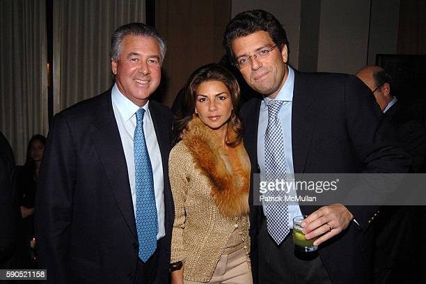 Keith Gollust Eva Lorenzotti and Lorenzo Lorenzotti attend Birthday Party for Barbara Hemmerle Gollust and Holly Newman at Opia on January 25 2005 in...