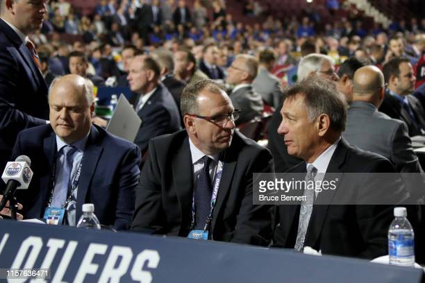 Keith Gretzky and Ken Holland of the Edmonton Oilers attend the 2019 NHL Draft at Rogers Arena on June 22 2019 in Vancouver Canada