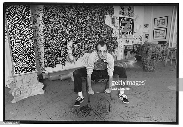 Keith Haring in his Studio