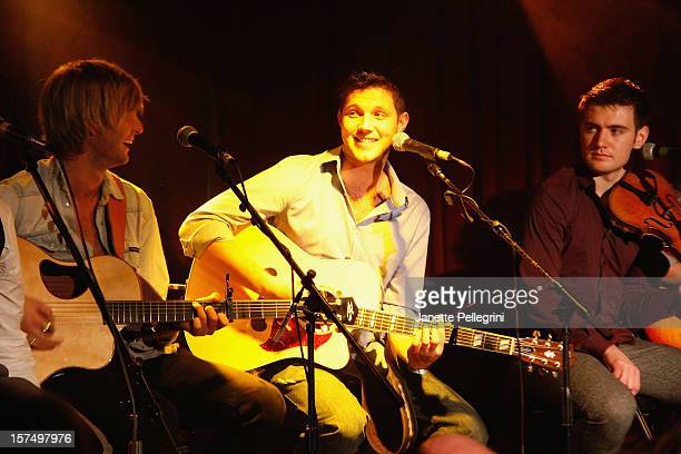 Keith Harkin Colm Keegan and Emmet Cahill of Celtic Thunder perform an Unplugged Concert Benefiting Hurricane Sandy Victims at Sullivan Hall on...
