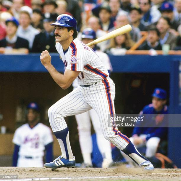 Keith Hernandez of the New York Mets batting against the Houston Astros during the National League Championship Series at Shea Stadium in October...