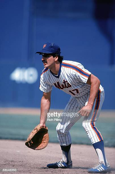 Keith Hernandez of the New York Mets fields during an MLB game at Shea Stadium in Flushing, New York. Keith Hernandez played for the New York Mets...