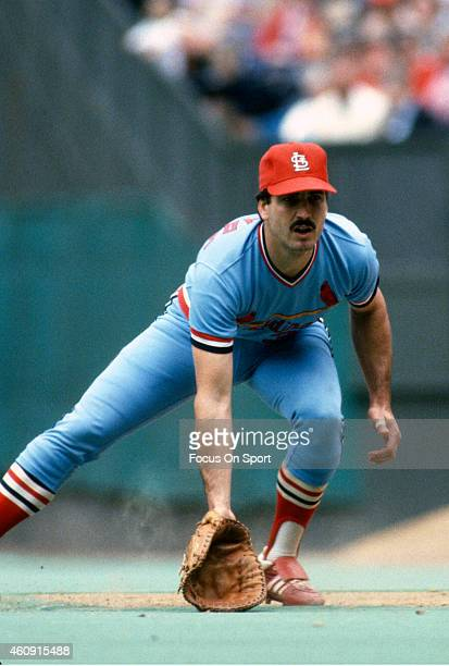 Keith Hernandez of the St Louis Cardinals is down and ready to make a play on the ball against the Philadelphia Phillies during an Major League...