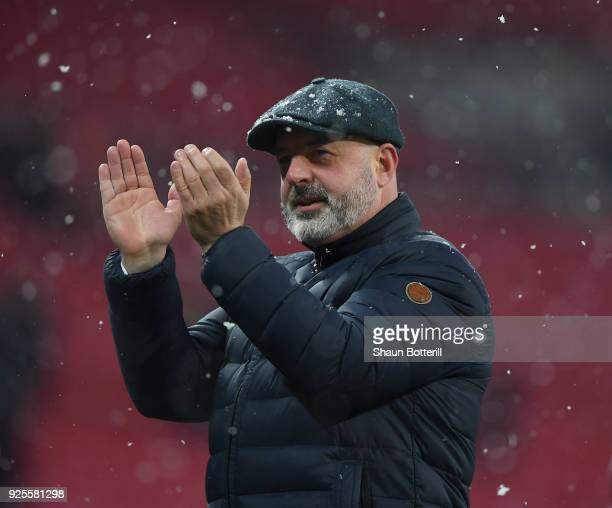 Keith Hill of Rochdale thanks the fans after the Emirates FA Cup Fifth Round Replay match between Tottenham Hotspur and Rochdale at Wembley Stadium...