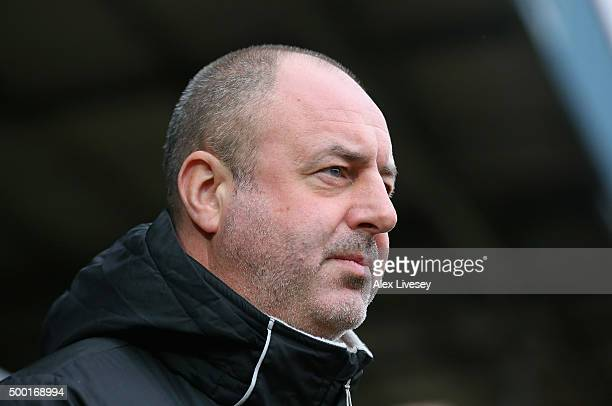 Keith Hill the manager of Rochdale looks on during The Emirates FA Cup Second Round match between Rochdale and Bury at Spotland on December 6 2015 in...