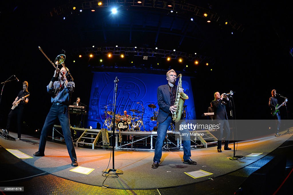 Keith Howland, James Pankow, Ray Herrmann, Lee Loughnane and Jason Scheff of Chicago perform at Hard Rock Live! in the Seminole Hard Rock Hotel & Casino on October 2, 2014 in Hollywood, Florida.
