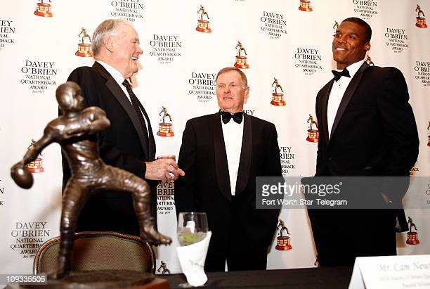 Keith Jackson left Bob Griese center and Cam Newton speak at a press conference Monday February 21 in Fort Worth Texas Newton received the 2010 Davey...