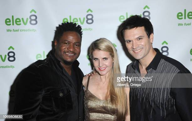 Keith Jefferson Kathy Kolla and Kash Hovey arrive for the elev8 Presents Jingle Mingle Holiday Party held at elev8 Office on December 7 2018 in...